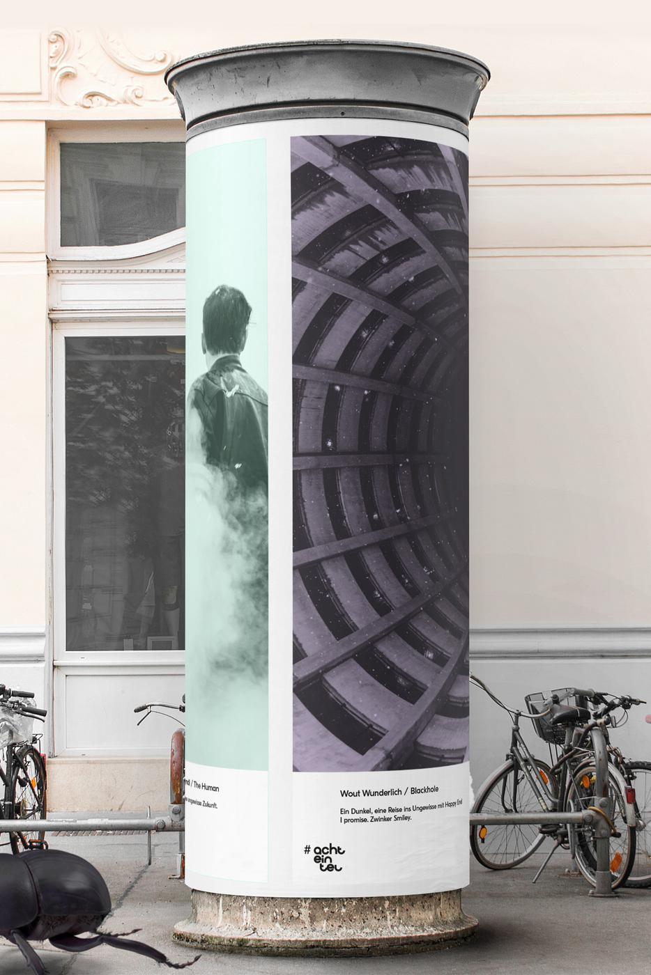 """So könnte das """"LitfassMuseum"""" aussehen: Hochformatige Kunstplakate im öffentlichen Raum, gestaltet von Künstlern aus der Region und finanziert von der Gemeinschaft."""