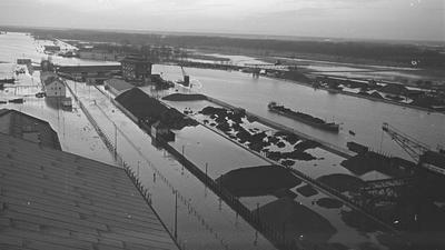 überschwemmter Rheinhafen 1955