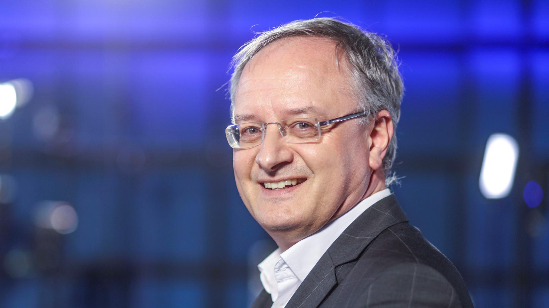 SPD-Spitzenkandidat Andreas Stoch beim BNN-Wahlforum im ZKM in Karlsruhe.