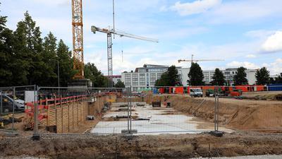 Baustelle in der Woerishofferstraße in Oberreut