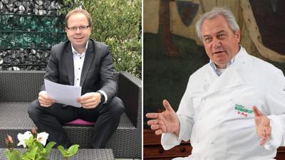 Michael Kant (l.) und Waldemar Fretz vom Dehoga sehen Lieferando einerseits als Risiko, andererseits aber auch als große Chance für Gastronomen.