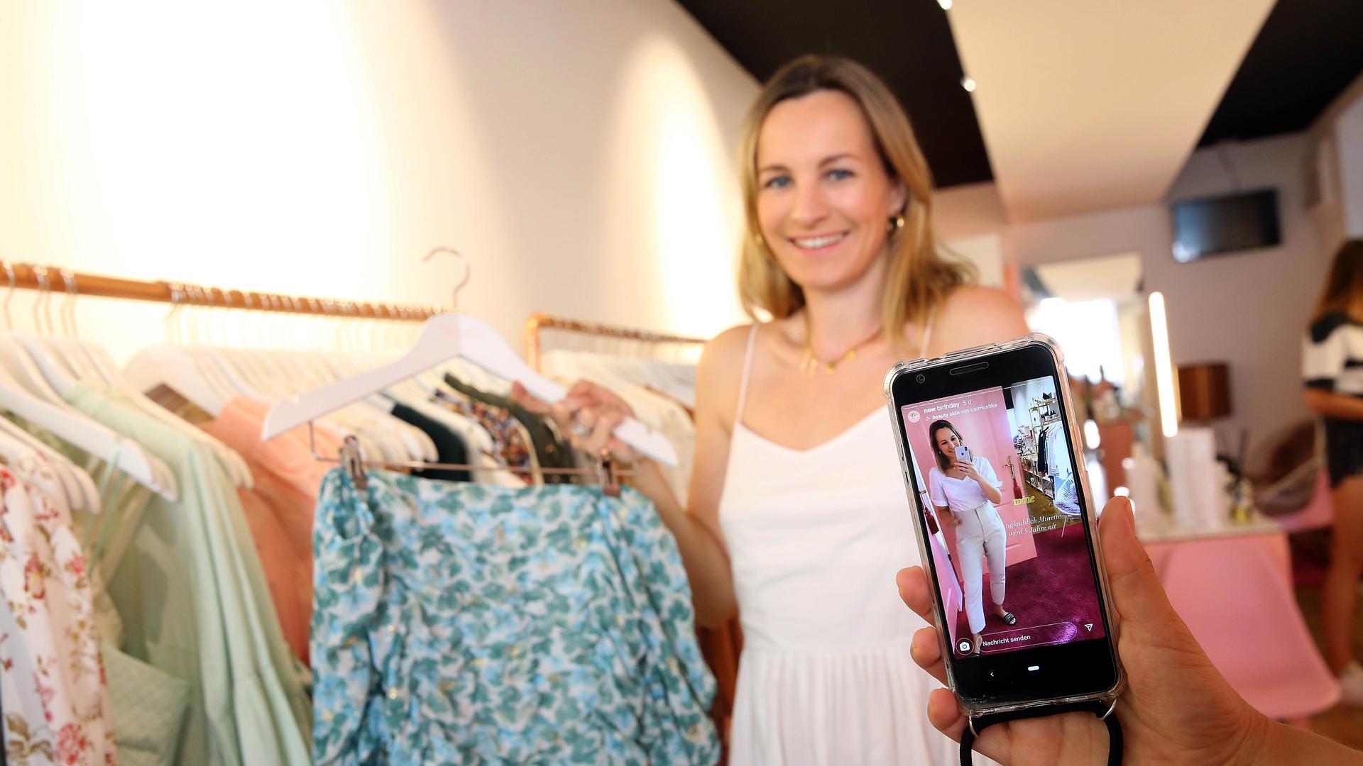 Einzelhandel übers Smartphone: Esther Laut bewirbt ihren Laden Minette auch per Insta-Story. Direkt über Instagram kann man außerdem in ihrem Online-Shop einkaufen.