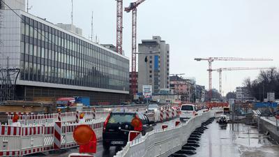 Kranstraße: Der künftige City-Boulevard ist und bleibt auf Jahre die Karlsruher Achse, an der sich viel dreht. Große Neubauten werden dort wachsen.