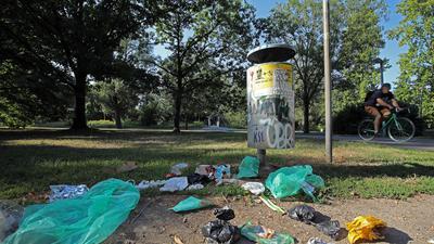 Müll-Stilleben: Dieser Abfalleimer beim Albufer nahe des Entenfangs wurde am frühen Morgen wohl schon ausgeräumt.
