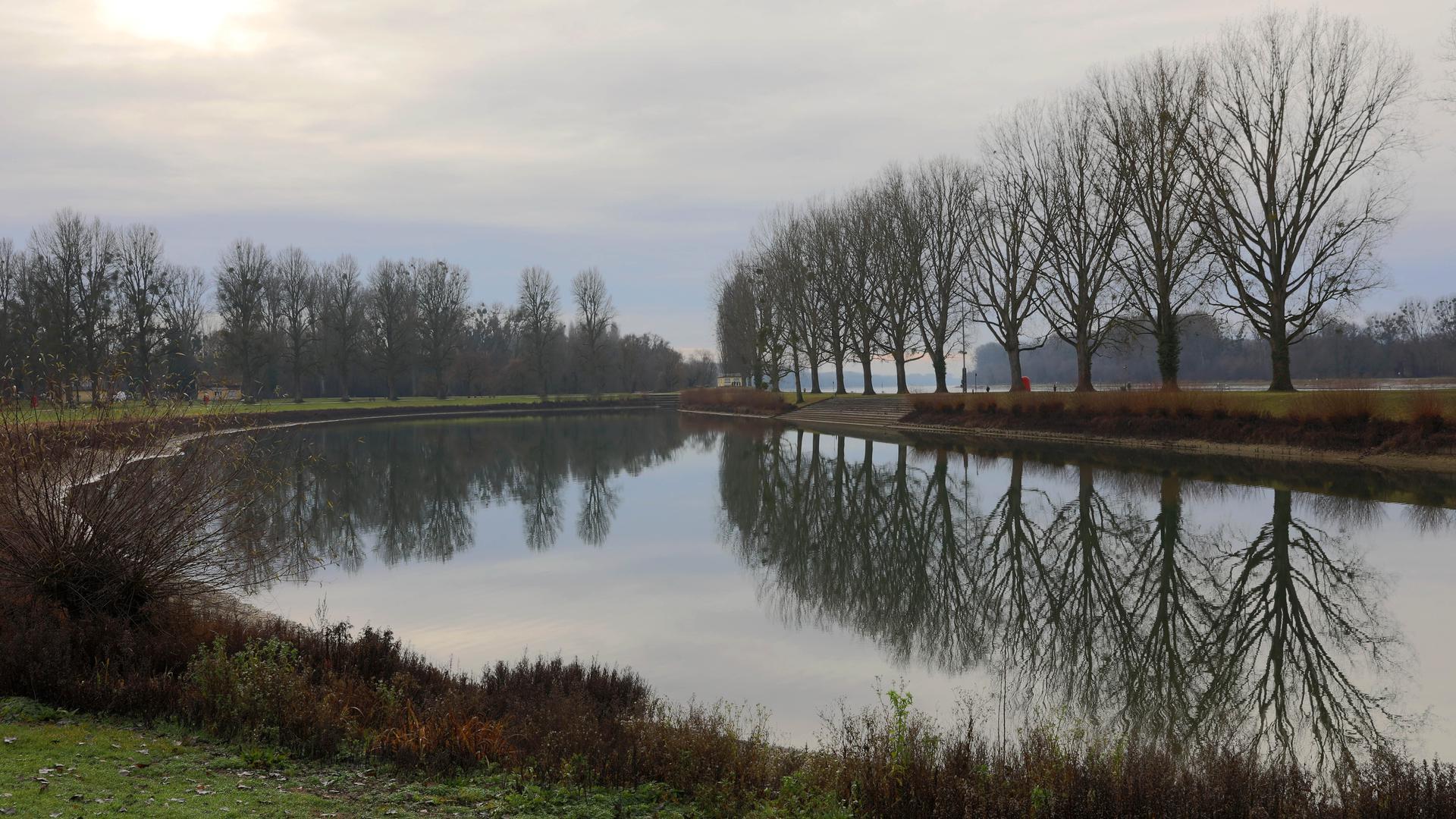 Inselidylle:  Das Traditionsbad Rappenwört ist nah am Wasser gebaut. Durch den Polder liegt es bei Hochwasser wieder auf einer echten Rheininsel.