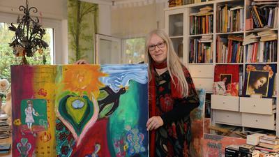 Kunst als Therapie: Zu Beginn der Corona-Pandemie hat Monika Seelmann dieses farbenfrohe, collagenhaft anmutende Bild gemalt.