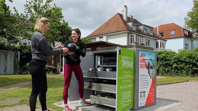 Eine kostenlose Sportbox steht beim TSV Bulach in Karlsruhe.