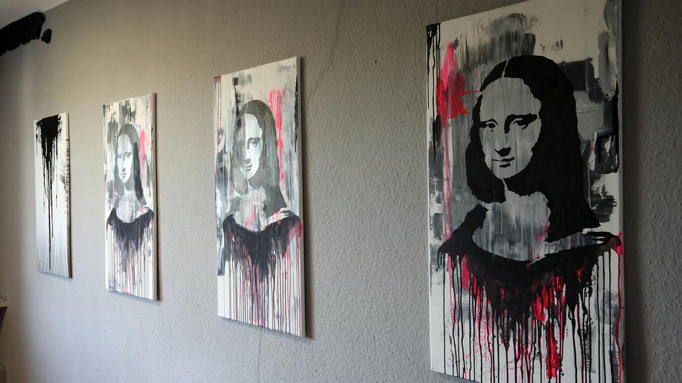 Das wohl berühmteste Porträtmotiv der Welt - die Mona Lisa - kann einer Karlsruher Variation in der Ausstellung Expostation im Sybelcentrum betrachtet werden.