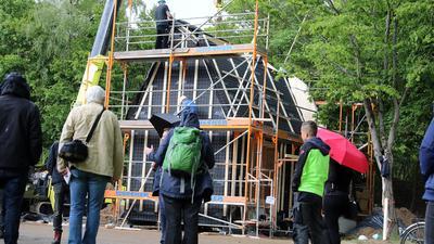 Richtfest Tiny House auf dem Campingplatz Durlach