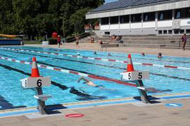 Schwimmer im Becken des Turmbergbads in Karlsruhe