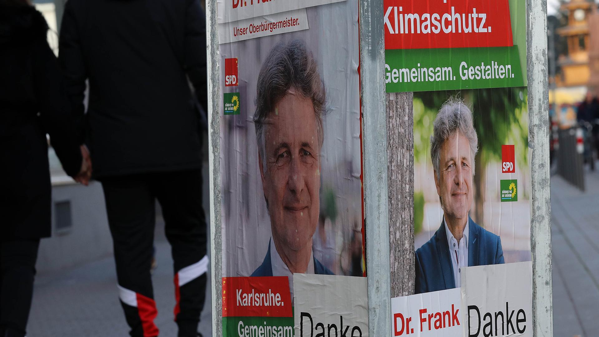Der Gewinner sagt Danke: Unmittelbar nach dem Urnengang am Sonntag haben die Unterstützer von OB Frank Mentrup die Wahlplakate mit einem zusätzlichen Aufkleber versehen. Die Werbung am Wegesrand verschwindet aber bald komplett.