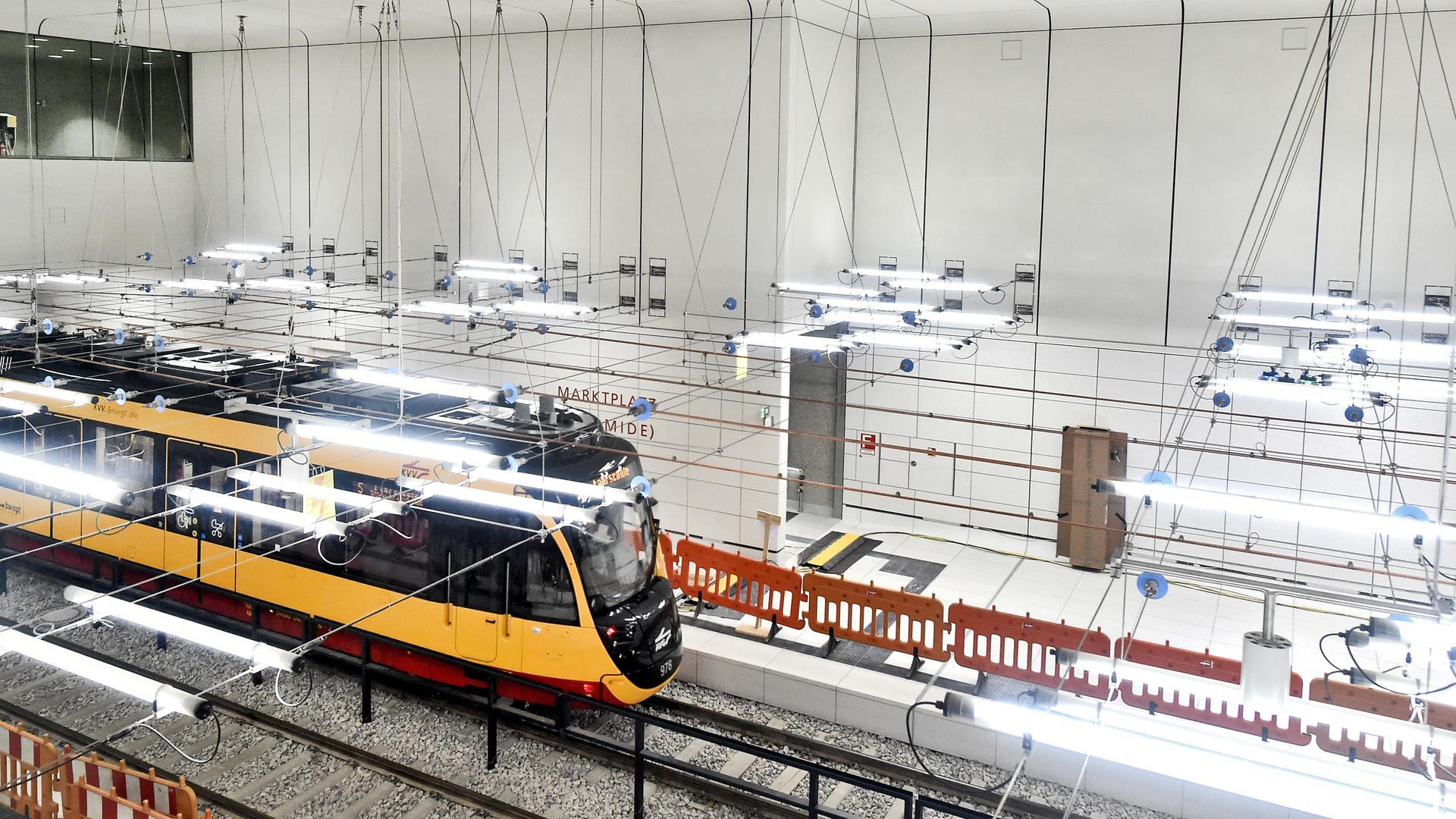 Noch nicht ganz fertig: Die unterirdischen Haltestellen der Karlsruher Kombilösung nehmen wie hier am Marktplatz langsam Gestalt an.