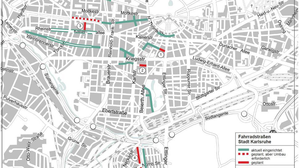 Eine Übersicht über bestehende und geplante Fahrradstraßen in Karlsruhe.