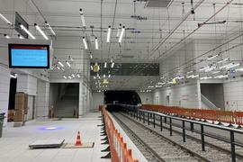 Kombilösung Karlsruhe, Haltestelle Marktplatz, Baufortschritt Anfang August 2021
