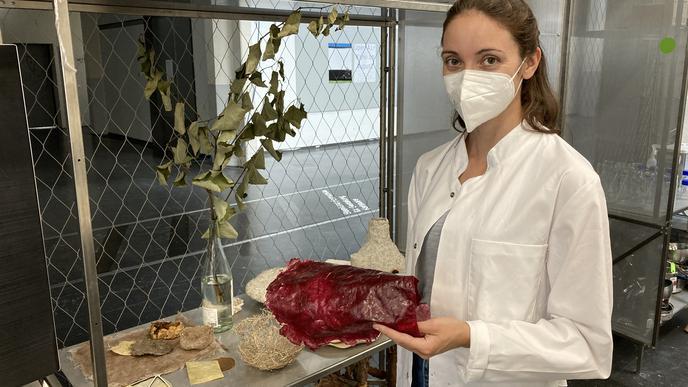 """Bio-Plastik als Gestaltungsmaterial: Julia Ihls von der Hochschule für Gestaltung präsentiert den Besuchern Exponate aus dem """"Bio Design Lab""""."""