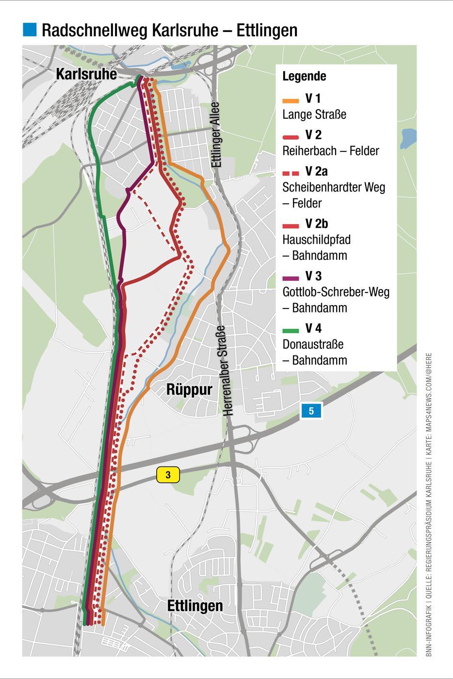 Radschnellweg zwischen Karlsruhe und Ettlingen.