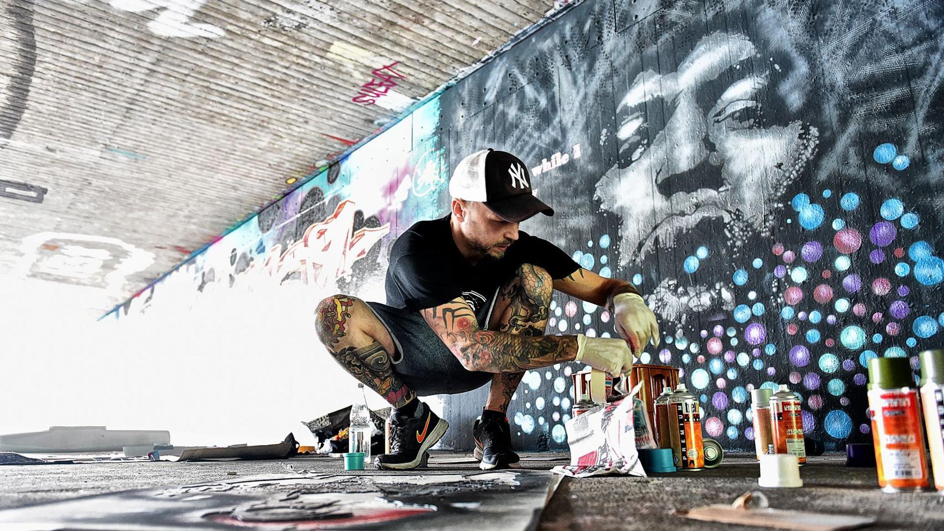 Künstler Streetart Wand