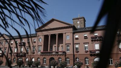 Das Karlsruher Rathaus unter Palmen Schmuckbild