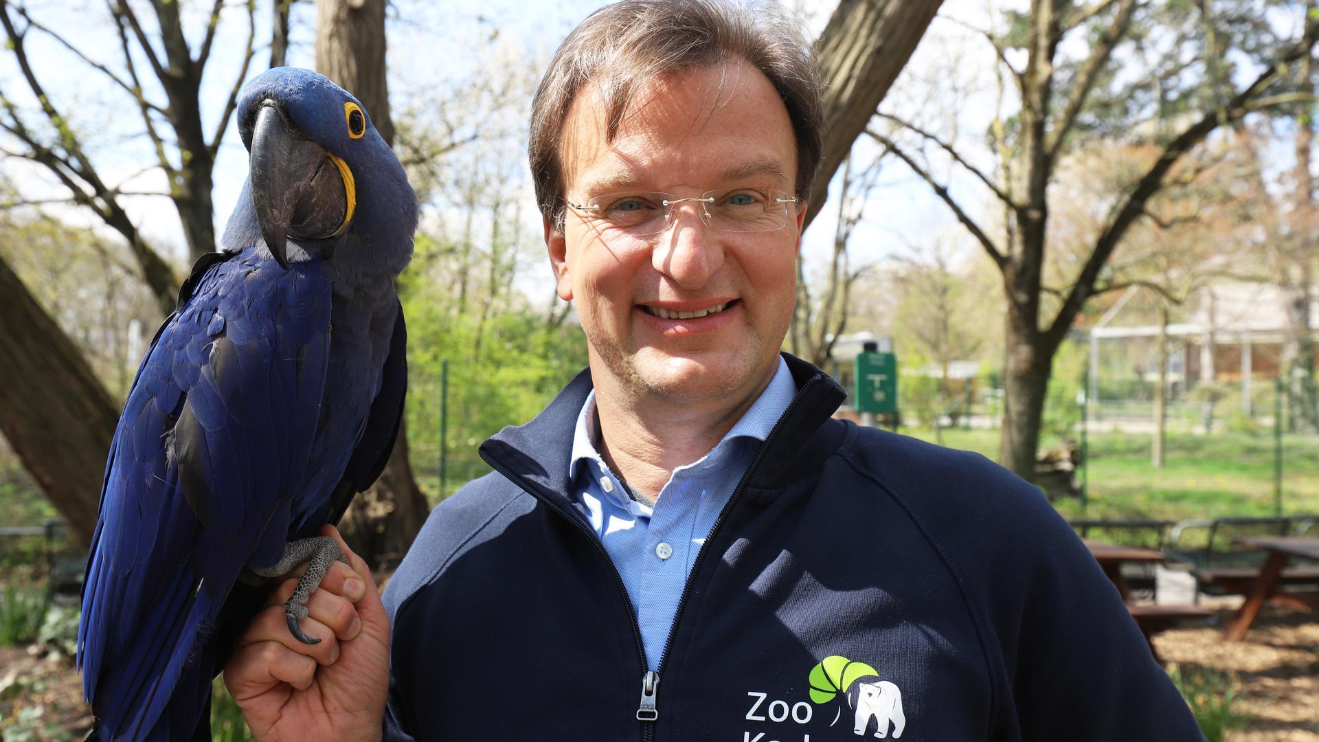 Der Karlsruher Zoodirektors Matthias Reinschmidt mit einem Ara auf dem Finger.