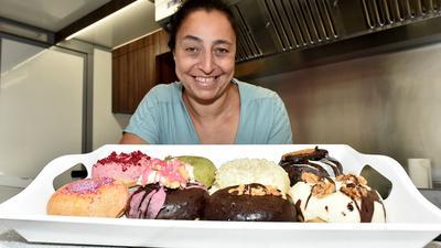 Süße Köstlichkeiten: Die Donuts, die Samy Ebel verkauft, kommen ohne tierische Inhaltsstoffe aus.
