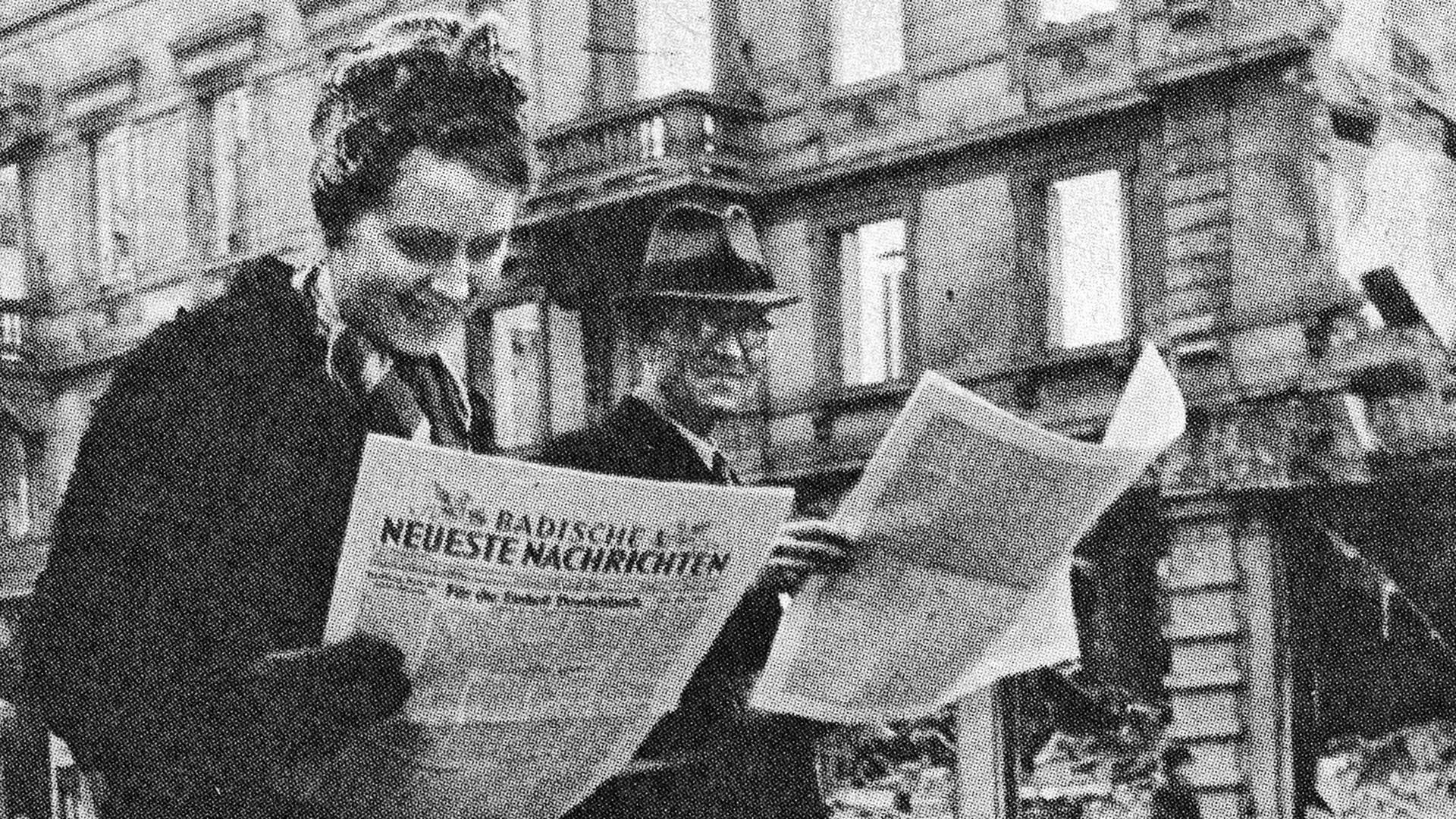 Historisches Foto: Repro aus 50 Jahre BNN erstmals erschienen am 5.3.1946