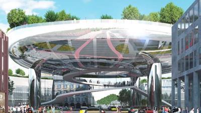 """Mal ganz was anderes: Das """"Ufo"""" ist als Ideengebäude des niederländischen Büros MVRDV am Ettlinger Tor gelandet."""