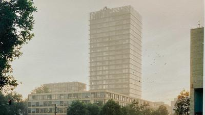 Der 1. Preis des Architektenwettbewerbs um den Neubau des Landratsamts in Karlsruhe ging an wittfoht architekten bda. Mit dieser Visualisierung zeigen die Stuttgarter Architekten, wie das Landratsamt aussehen würde, sollten sie den Auftrag schlussendlich bekommen.
