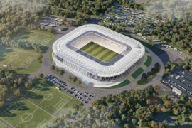 Eine Visualisierung des neuen KSC-Stadions in Karlsruhe aus der Vogelperspektive