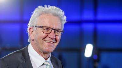Ministerpräsident Winfried Kretschmann beim BNN-Forum zur Landtagswahl im ZKM in Karlsruhe.