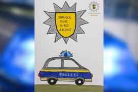 Diese Zeichnung ging als Dankeschön auf dem Polizeiposten in Beiertheim-Bulach ein.