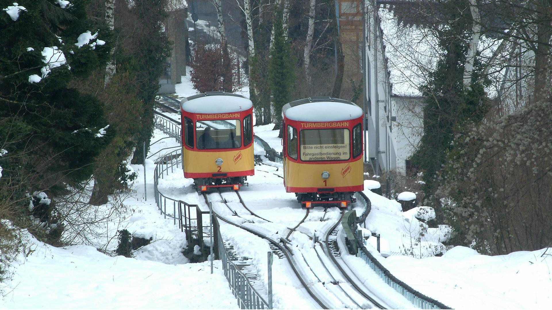 Archivfoto vom 6.3.2005: Turmbergbahn im Winter