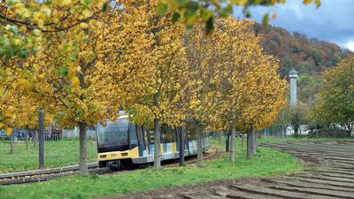 28.10.2020 Geplante Bebauung des Gebietes Oberer Säuterich am Rand von Durlach-Aue neben den Gleisen der Straßenbahnlinie 2 und dem Friedhof Aue