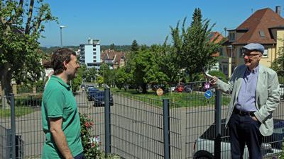 14.06.2021 Gegenwind für die geplante Verlängerung der Turmbergbahn, links Seth Iorio, rechts Klaus Beyrer