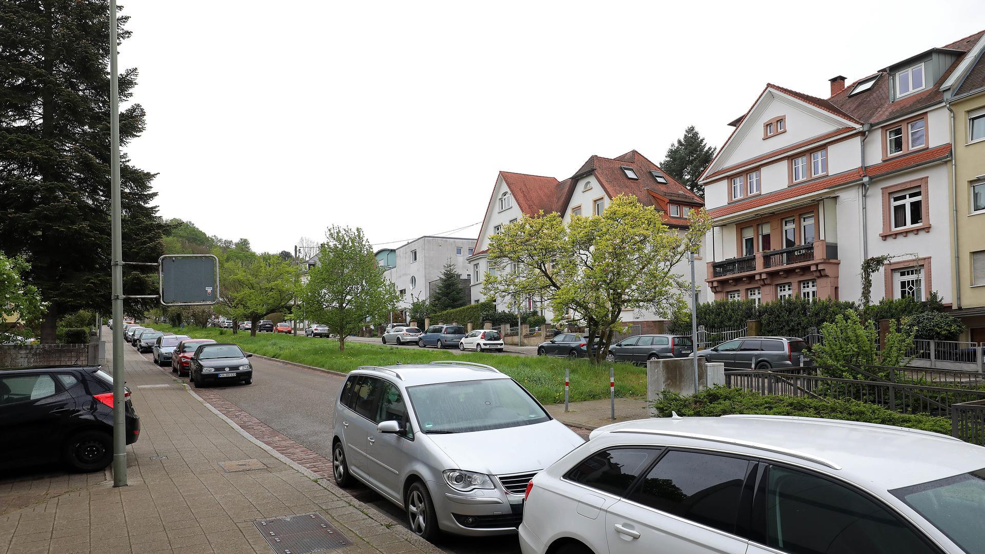 Bergbahnstraße mit Grünstreifen in der Mitte