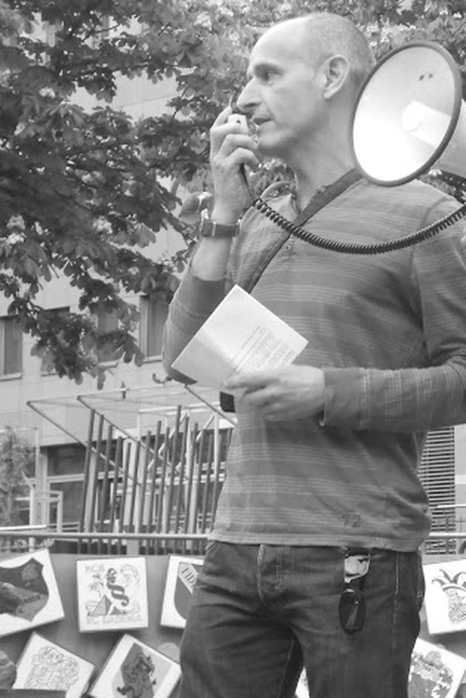 Engagiert für den Radverkehr: Thomas Gentner hielt Reden und leitete Touren der Critical Mass in Karlsruhe.