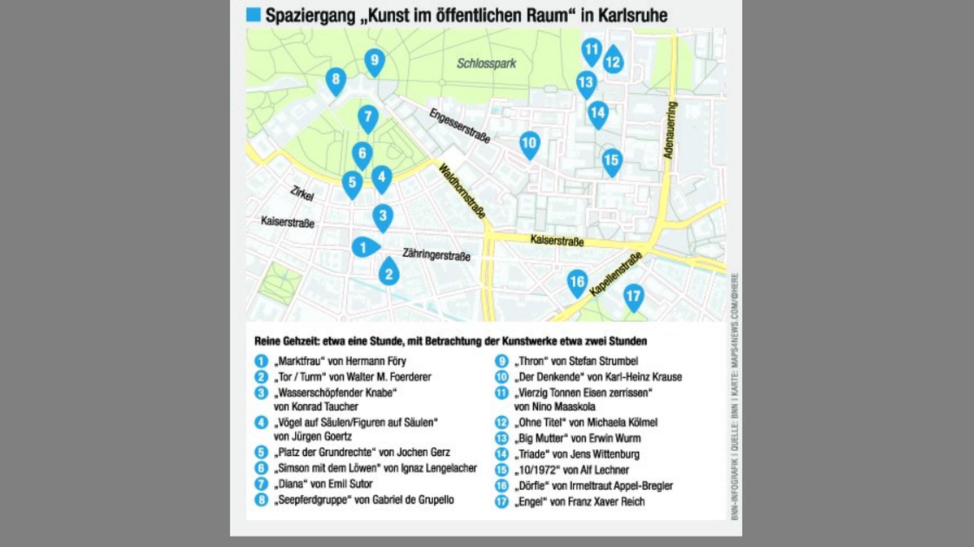 Exklusiv für die BNN hat der Karlsruher Künstler Karlheinz Bux eine etwa zweistündige Kunst-Tour durch die Innenstadt erstellt.