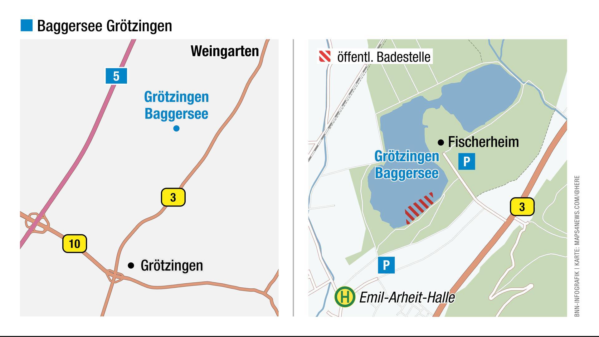 Blick auf die Karte: Hier liegt der Baggersee Grötzingen.