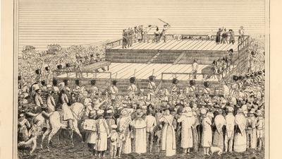 Spektakuläre Exekution: Als das Schwert des Scharfrichters dem Leben der Brüder Qualibert und Damian Maisch im März 1829 nahe dem heutigen Gutenbergplatz ein Ende bereitete, waren Hundertschaften von Schaulustigen zugegen.