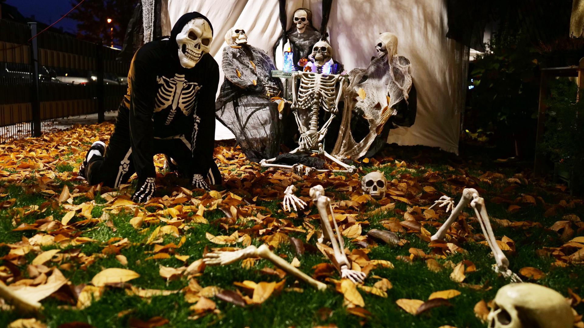 Grusel-Schau für die Nachbarn: Herbert Schwarz dekoriert seinen Garten jedes Jahr zu Halloween mit viel Freude. Auch dieses Jahr freut er sich über große und kleine Zaungäste.