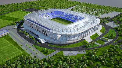 Modell zeigt das neue Wildparkstadion in Karlsruhe.