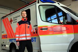 4.02.2021 DRK-Rettungswache in Neureut-Sandfeld, Notfallsanitäter Oliver Meier
