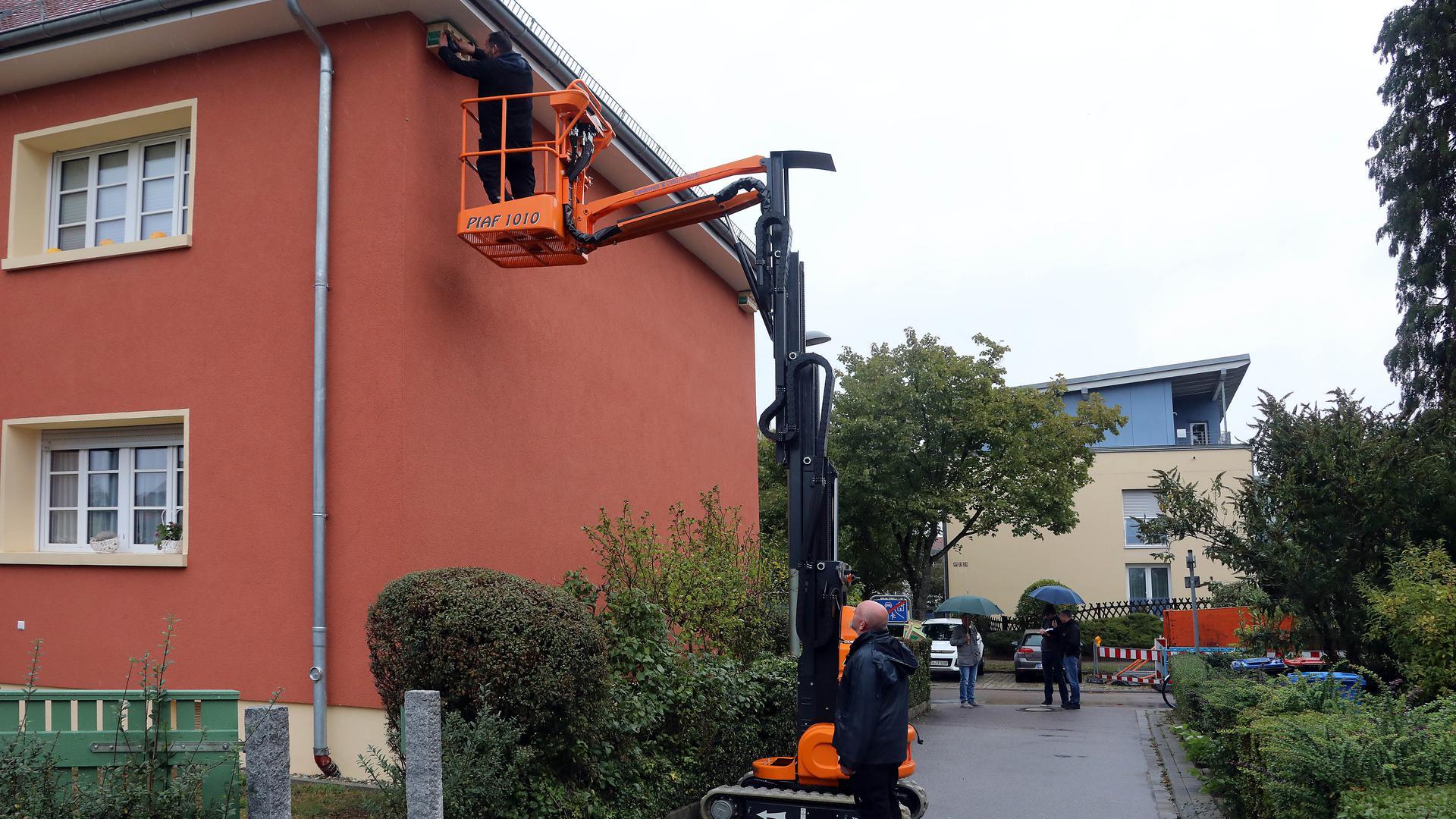 Torsten Stober und Kai Rozowski vom Werkhof der Wohnungsgenossenschaft installieren am Krokusweg eines der Vogelhäuser.