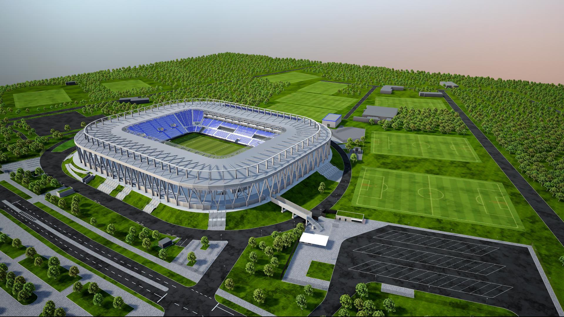 Ein Modell zeigt das neue Fußballstadion in Karlsruhe von außen.