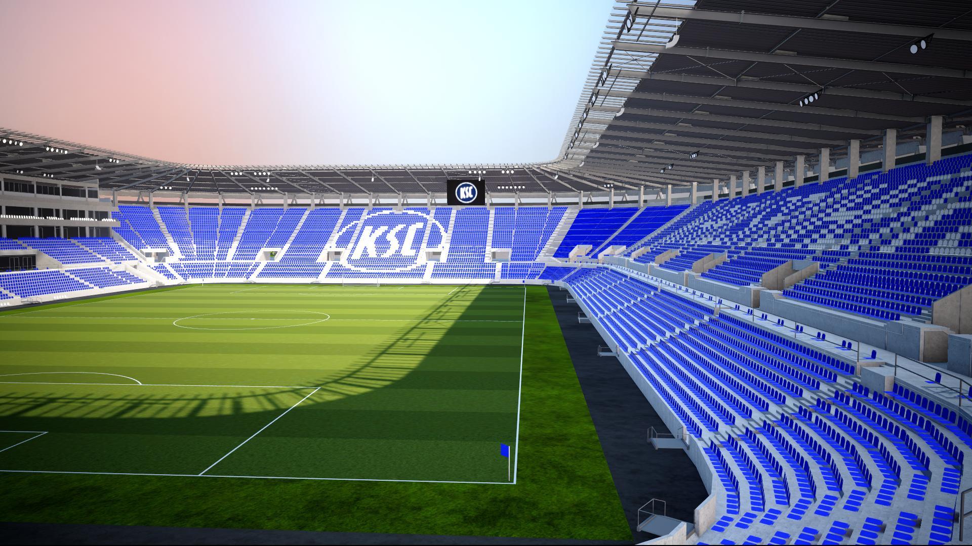 Modell zeigt den Innenraum des neuen Wildparkstadions in Karlsruhe