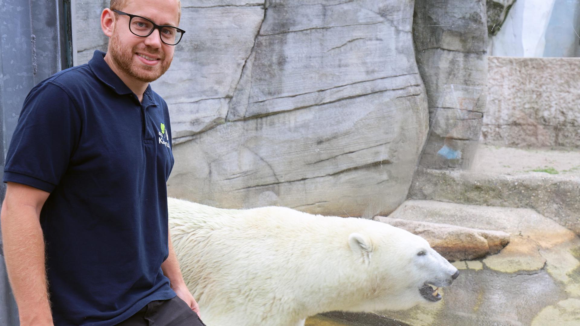 Marco Roller und Eisbär im Zoo Karlsruhe