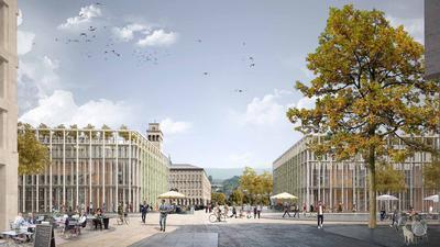 Bebaute Ecken: Fünfgeschossige Torhäuser fassen im Entwurf des Berliner Büros vom Schweizer Max Dudler an der Südseite des Ettlinger Tors die Ettlinger Straße ein.