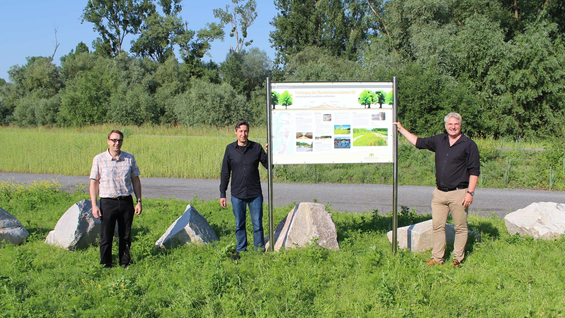 Peter Schneider, Referatsleiter Gewässer des RP Karlsruhe, Jens Teege (Projektleiter), Sascha Lichtenberger (Projetbearbeiter) stehen neben dem Schild, das Spaziergänger über den Hochwasserdamm informiert.