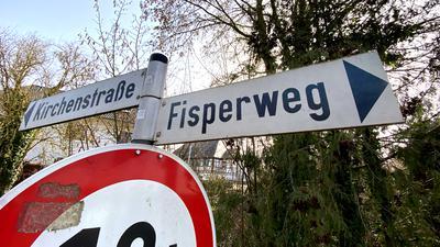 """23.02.2021 Ungewöhnliche Straßennamen: Eggenstein Straßenschild """"Fisperweg"""""""