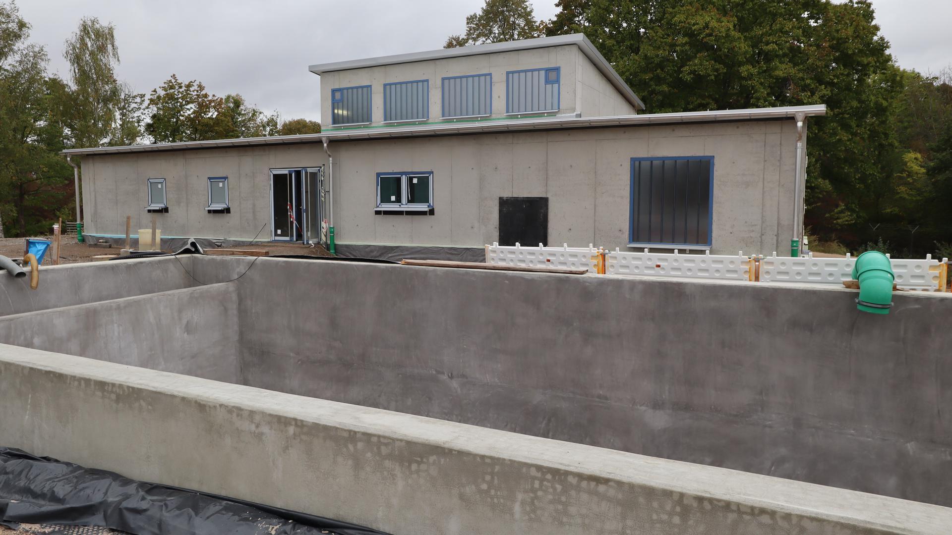 Gebäude in Beton, davor ein großes Becken aus Beton