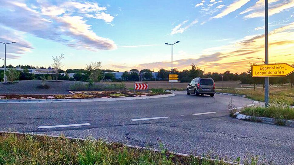 Wird noch schöner: Der Kreisverkehr zwischen Neureut und Eggenstein-Leopoldshafen soll im Frühjahr ergrünen.
